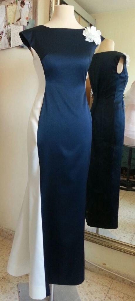 שמלת ערב כחול לבן